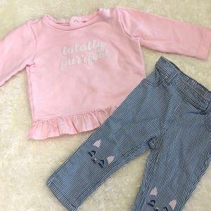 Carter's | Pink Ruffle Sweater & Jegging Set 9M
